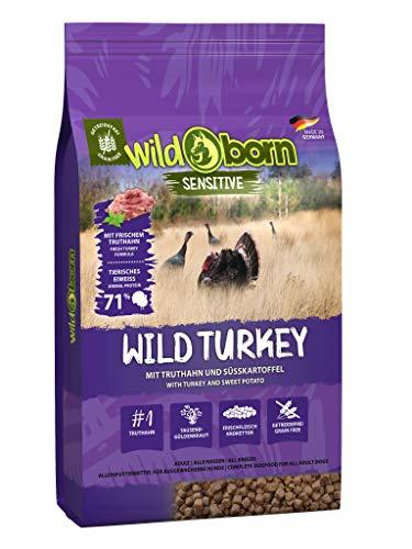 Wildborn Wild Turkey getreidefreies Hundefutter mit Truthahn & Süßkartoffel | sensitives Hundefutter ohne Zusatzstoffe mit extra viel Fleisch Made in Germany