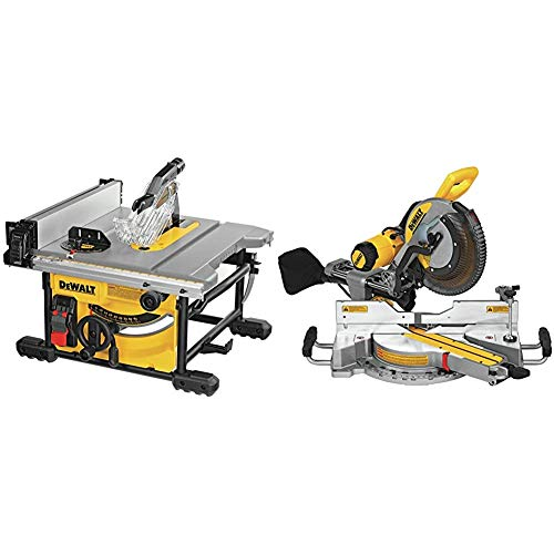 DEWALT Table Saw for Jobsite, Compact, 8-1/4-Inch (DWE7485) & Sliding Compound Miter Saw, 12-Inch (DWS779)