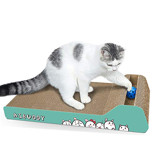 Aibuddy Rascador de gatos, inclinado para arañar la cama reversible de cartón, con pelota de juguete Catnip [ 45 x 24 x 8,5 cm, cartón superior y construcción]