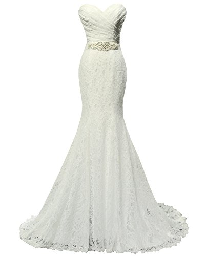 SOLOVEDRESS Beaded Pleat Lace Mermaid Bridal Gown