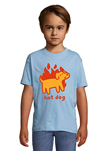Luckyprint Hod Dog Minimalistic Cute Doge Funny Art Heaven Kids Colorful T-Shirt 12 Year Old