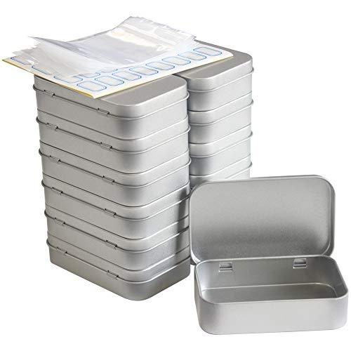 DARUITE 12 PCS Caja Metalica Almacenaje con Tapa Almacenamiento Portátil Gadget Pequeño 9,5 x 6 x 2,2 cm