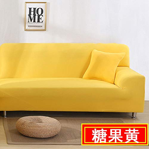 HXTSWGS Sofaüberzug Couchhusse,Living Room Sofa Cover, Stretch Sofa Cover, Chair and Stool Sofa Cover, Furniture Cover-Candy Yellow_190-230cm