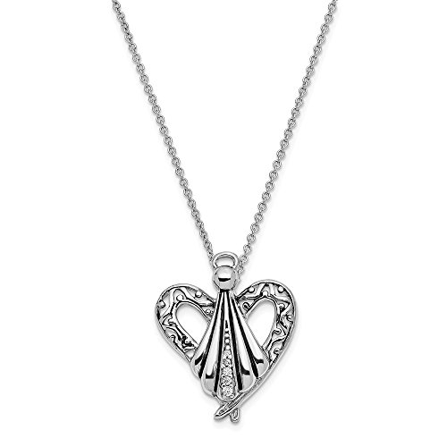 925 Sterling Silver Cubic Zirconia Cz Angel Of Friendship 18 Inch Chain Necklace Pendant Charm Religious Inspirational Fine Jewelry For Women Gifts For Her