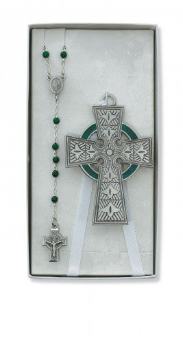 Celtic Crib Cross Rosary Set Great Gift for New Baby