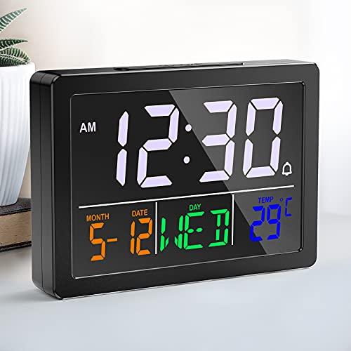 NBPOWER Wecker Digital mit Großes LED Display,Digitale Uhr Wecker Tischuhr mit Temperatur/ Musik Klingelton/ Datum/ Snooze,Perfekt für Nachttisch, Schlafzimmer und Büro - Inklusive Batterien