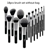 18 Piezas de Pinceles de Maquillaje Set de Pinceles de Maquillaje Profesional Cabello sintético Ojos y Cara Negro Pinceles de Maquillaje Set Kit Herramientas.