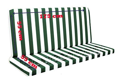 Cuscino per Dondolo 4 posti 170 Cm Bianco/Verde
