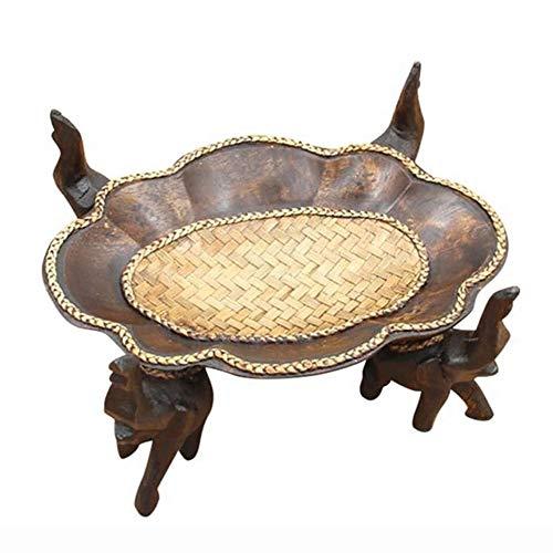 Handgemaakte Fruitschaal, Thaise Creatieve Creatieve günstige Vier-Xiang Lade Fruitschaal, Zuidoost-Aziatische Houten Nostalgische Bamboe Tafeldecoratie
