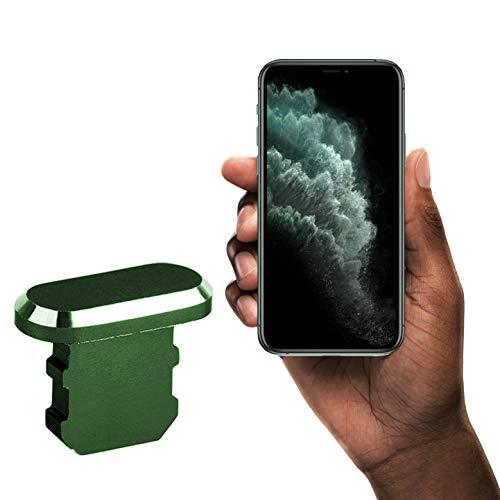 innoGadgets Enchufe de protección contra el Polvo Compatible con el iPhone 7/8/X/Xs/Xr/11/11Pro/SE/12/12Pro | Enchufe de protección contra el Polvo | Aluminio iPhone + Clip de Silicona Gratis | Verde
