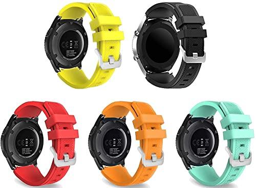 Gransho Bandas de Repuesto Compatible con Huawei Watch GT 2 (46mm) / Watch GT 2e / Watch GT, Reloj Correa de Silicona Suave Correas Pulseras Correa Deportiva Pulsera (22mm, 5-Pack J)