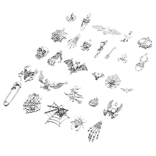 HEALLILY 26 Piezas Vintage Calavera Esqueleto Encanto Tibetano Plata Decorativa Artesanía Retro Colgante Antiguo DIY Metal Encantos para Suéter Cadena Collar Pulsera