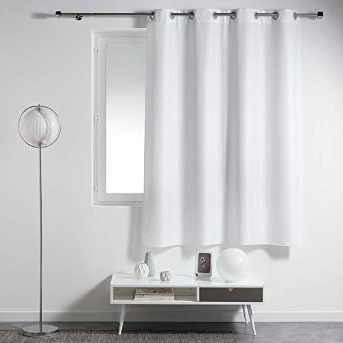douceur d'intérieur Rideau a Oeillets Metal 140 X 180 cm Polyester Uni Essentiel Blanc