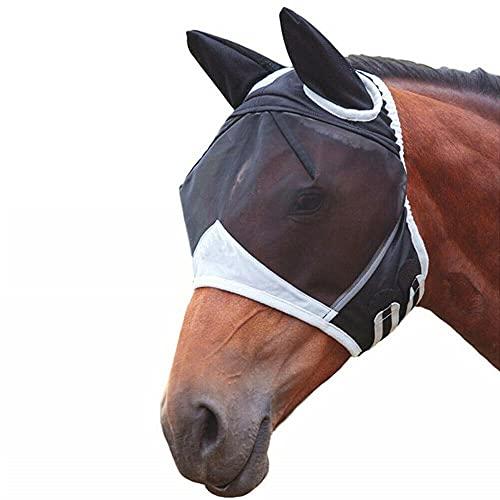 SKLLA Pferd Fliegen Maske, Atmungsaktiv Anti Moskito Pferd Mesh Mit Reißverschluss Anti-uv Pferd Ornament Zubehör, Kopfschutz Für Pony Pferd,Schwarz,L