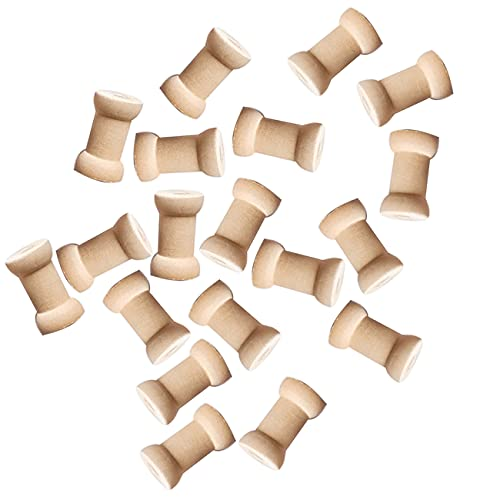 20 piezas de madera carretes de hilo vacíos carretes de madera sin...