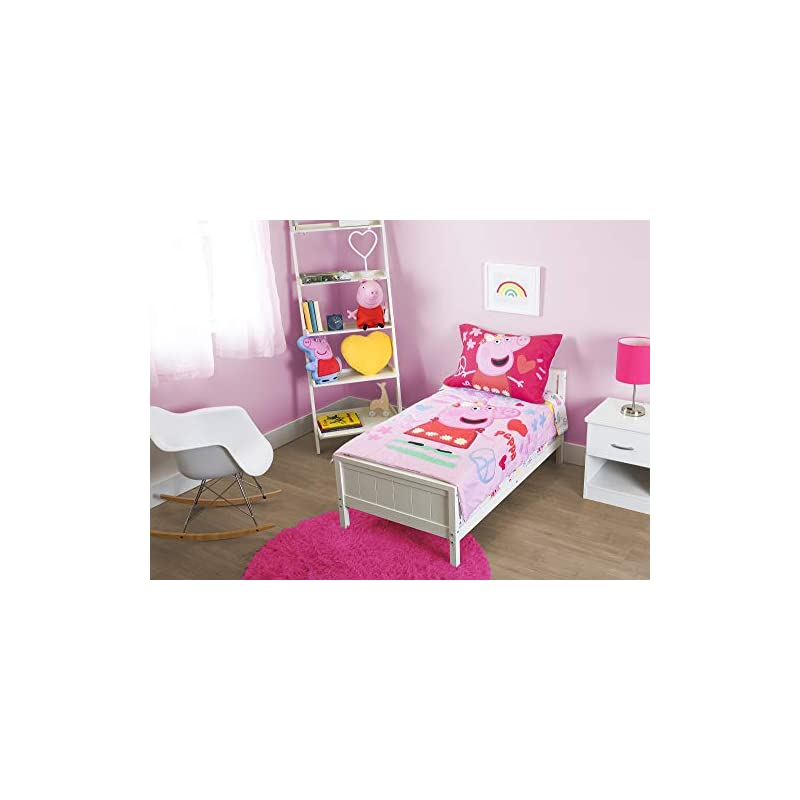 crib bedding and baby bedding peppa pig - be nice & kind 4 pc toddler bed set, pink