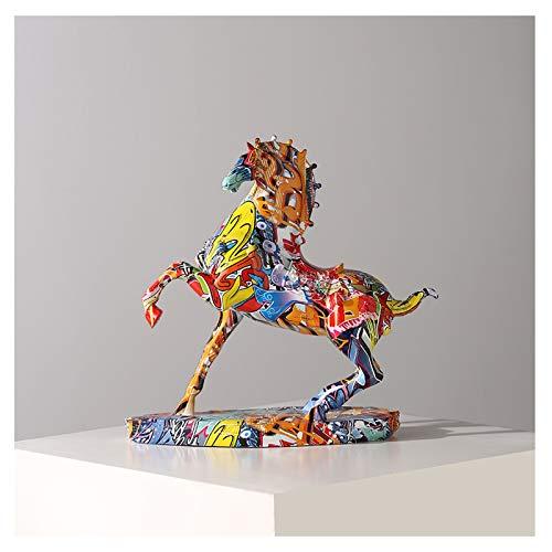 Estatua de mesa Moderno Color Color Color Caballo Arte Muebles Living Room Entrada Oficina Estudio Desktop Accessories Lucky Creative Artículos Decoración de escritorio interior ( Color : D )