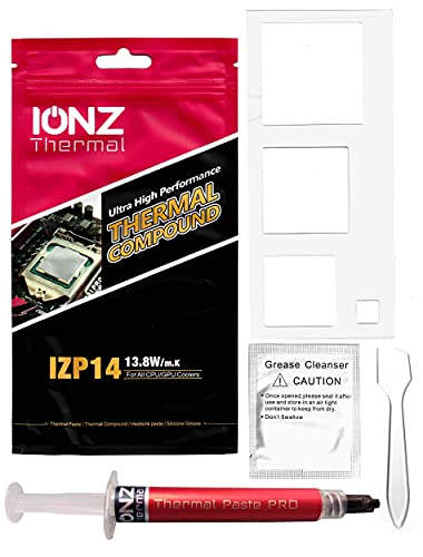 ionz IZP14 Kit - 2 Grams - Ultra High Performance Thermal compound, 13.8W mK Heatsink Paste 2g For All CPU GPU Coolers