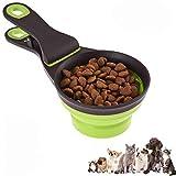 Cuchara 3 en 1 para alimentos, 237 ml Plegable Clip de cuchara medidora de alimentos para mascotas Alimentación de almacenamiento y riego Suministros para el hogar al aire libre, verde 1 taza / 8 oz