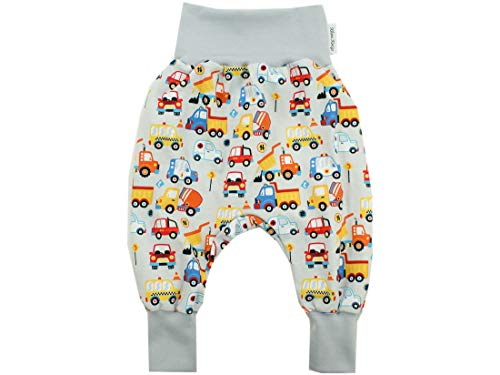 Kleine Könige Pumphose Baby Jungen Hose · Modell Autos Fahrzeuge Happy Cars, hellgrau · Ökotex 100 Zertifiziert · Größe 110/116