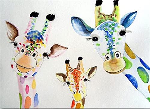 Heyao DIY Pintura al óleo de por Números Kit Ciervos de Colores para Adultos Niños Pintura al Óleo De Lona Preimpresos para la Decoración De La Casa Oficina Framed_40X50cm(16x20inch)