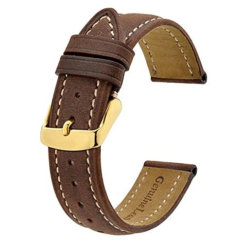 BISONSTRAP Bracelets de Montre Vintage avec Boucle en Or, Bracelet de Remplacement en Cuir 19mm (Marron/Fil Beige)