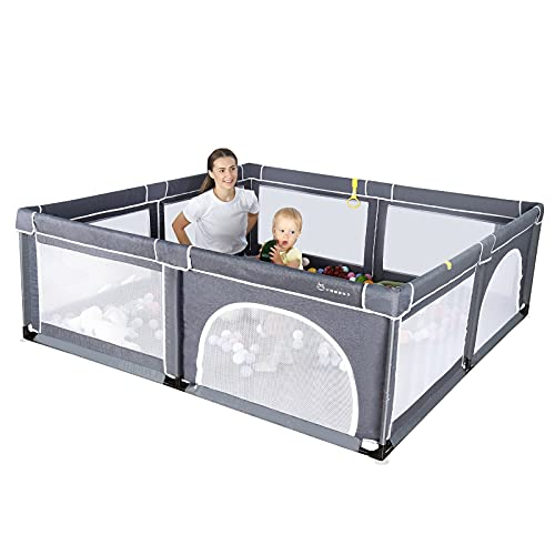 YOBEST Baby Playpen, Extra Large Playpen for Toddlers, Indoor & Outdoor Kids Activity Center with Gate, Sturdy Safety Baby Play Yard Fence, Baby Fence Play Area for Babies, Toddler, Infants
