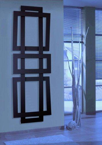 Badheizkörper Design ART II, HxB: 180 x 60 cm, 1019 Watt, schwarz (matt) (Marke: Szagato) Made in Germany/exklusiver Bad und Wohnraum-Heizkörper (Mittelanschluss)
