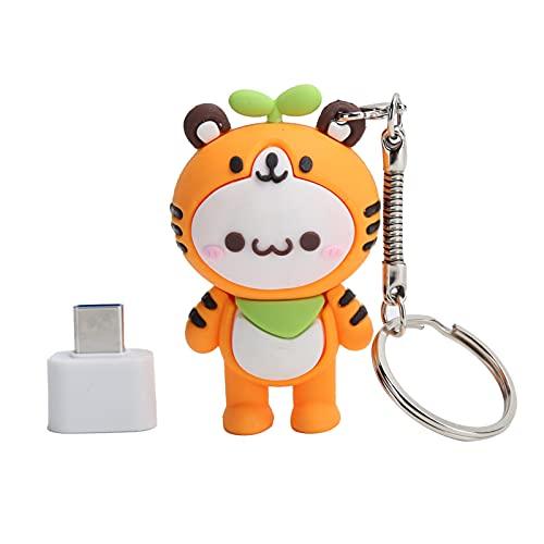 Unidad Flash USB2.0, con Adaptador Tipo C, Almacenamiento Ultra Grande USB 2.0 Stick Pen Drive Memory Stick, Estilo Compacto y Elegante Forma de Tigre, (8GB)
