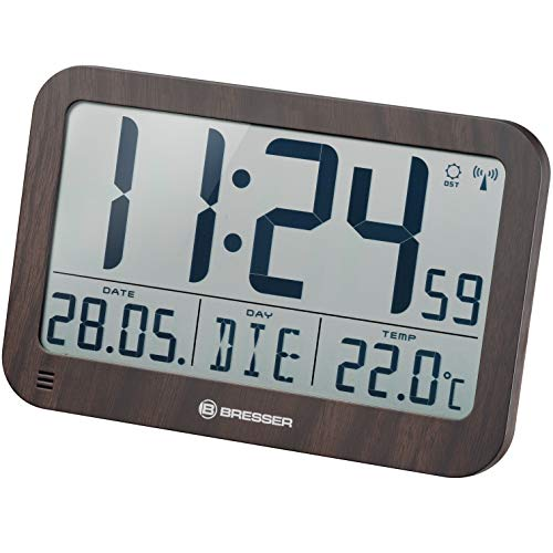 Bresser digitale Wanduhr MyTime MC LCD Wand Tischuhr 225x150mm mit Thermometer in Holzoptik