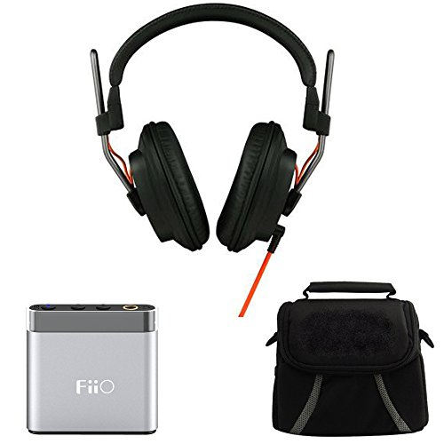 Beach Camera Fostex Professional Studio Headphones (T50RPMK3) with FiiO A1 Portable Headphone Amplifier – Silver & Digpro Compact Deluxe Gadget Bag for Cameras/Camcorders