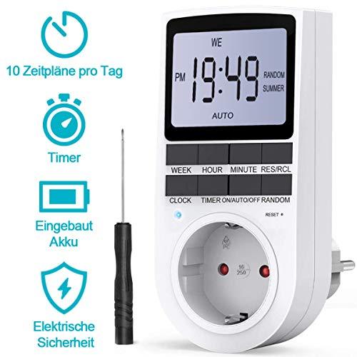 BMK Zeitschaltuhr, Zeitschaltuhr Digital Elektrische Steckdose 10 Programmierbarer EIN-AUS Timer Schalter mit Reset-Tool, LCD-Display, RANDOM-Diebstahlsicherung für Licht Ventilator usw. (1pcs) (1pcs)