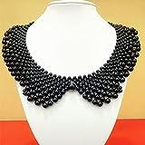 XKMY Collar falso con perlas falsas para el cuello de las mujeres falsas para el vestido de fiesta de la novia decora el collar falso (color negro)