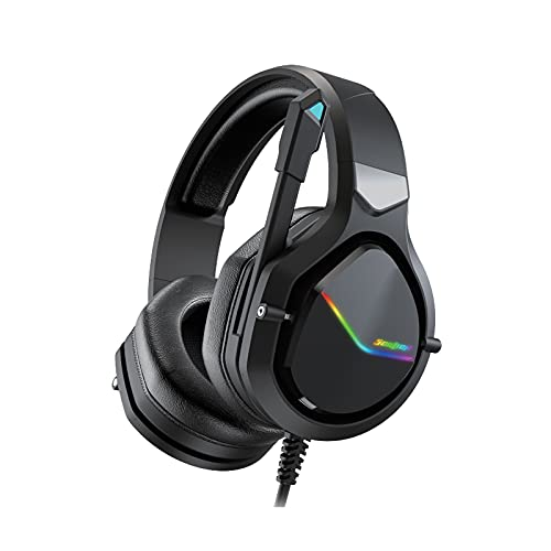 SOULION S10 Gaming Headset with Microphone, RGB Lights PC Headphones with Noise Canceling Mic for PS4, PC, Xbox One, Soft Memory Earmuffs Headsets for PS5 Laptop Mac Mobile