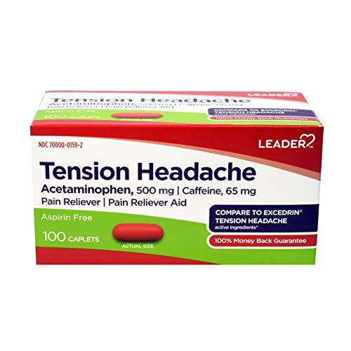 Tension Headache Pain Relief, Aspirin Free, Acetaminophen & Caffeine, Compare to Excedrin Tension Headache Active Ingredient, 100 Caplets (Pack of 2)