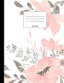 Light Pink Floral Composition Notebook: Wide Ruled, Softcover, 100 sheets/200 pages, 9 3/4