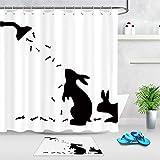 XCBN Lustiger Kaninchen Schatten Duschvorhang schwarz & weiß Bad Vorhang Wasserdichten Duschvorhang mit 12 Haken A1 150x180cm