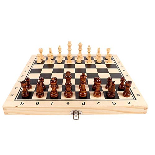 DXXWANG Chess Gift Magnetic Chess, Wooden Set with Folding Board, Wood Pieces Storage Box Set Wood Board Game Board Game Chess Set,34Cm