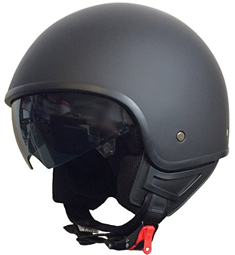 Rallox Helmets Chopperhelm 074 schwarz/matt Rallox Jet Motorrad Roller Sturz Helm mit Sonnenblende (XS, S, M, L, XL) Größe L