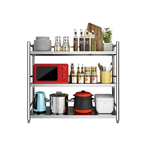 Unidad de estantería de Acero Inoxidable de 3 estantes, Mesa de Catering de Cocina, Banco de Trabajo Pesado para cocinas Oficina de Catering Comercial, Altura: 100 cm (Size : 80 * 35 * 100cm)