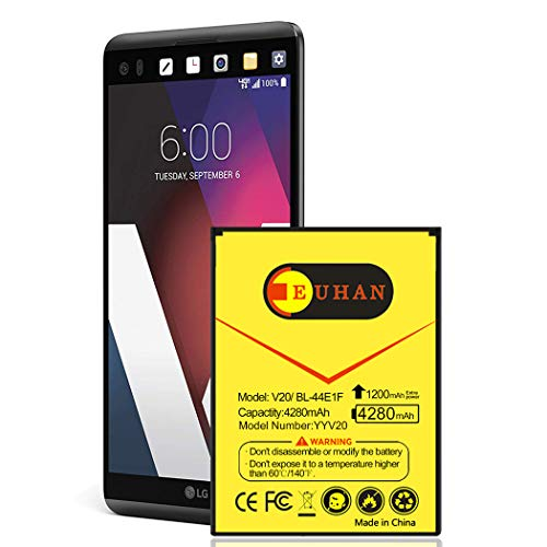 LG V20 Battery, Upgraded Euhan 4280mAh Extended Slim Battery BL-44E1F Replacement for LG V20 AT&T H910, T-Mobile H918, Verizon VS995, Sprint LS997, US996 | V20 Spare Battery [24 Month Warranty]