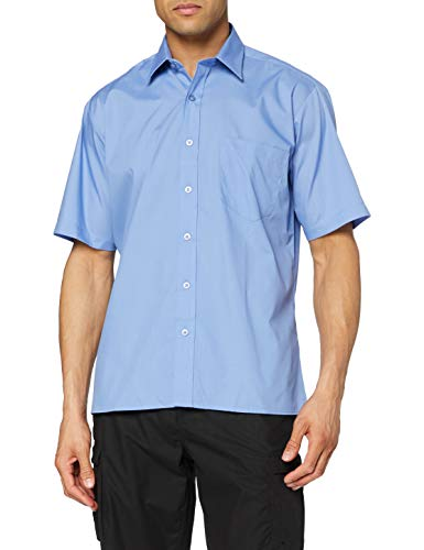 Premier Workwear Premier Workwear Herren Poplin Short Sleeve Shirt Businesshemd, Blau (Mid Blue), XXX-Large
