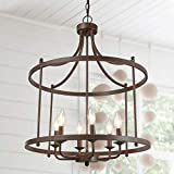 LOG BARN Drum Lightening Chandelier Antique Bronze Finish, Medium Laundry Room, 21.6' Foyer Light Fixture
