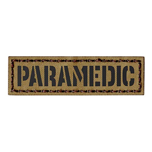 IR Tan Paramedic 1x3.5 Name Tape EMS EMT Medic Coyote Subdued Tactical Hook&Loop Patch