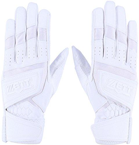 ZETT(ゼット) 野球 バッティンググローブ 両手 インパクトゼット ダブルベルト 高校野球ルール対応 ホワイト(1100) Mサイズ BG448HS