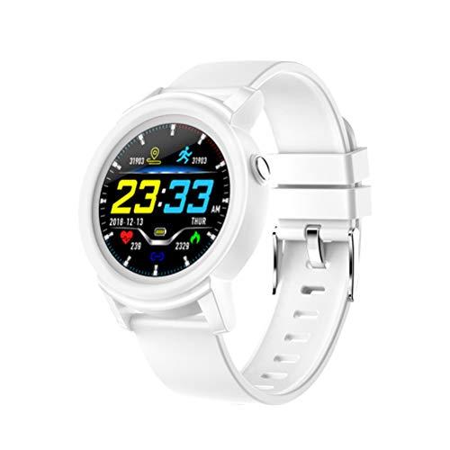 DK02 Smart Watch Farbbildschirm Fitness Tracker Pulsuhr für Männer Frauen Sport (WhiteRot)