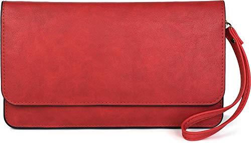 styleBREAKER Damen Clutch mit Überschlag und Trageschlaufe, Abendtasche, Portemonnaie 02012259, Farbe:Rot