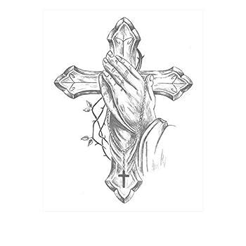 SanerLian Waterproof Temporary Fake Tattoo Stickers Vintage Grey Cross God Pray Set of 2