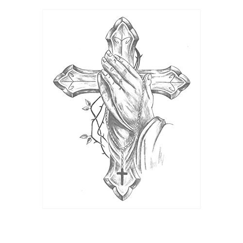 SanerLian Waterproof Temporary Fake Tattoo Stickers Vintage Grey Cross God Pray Set of 2