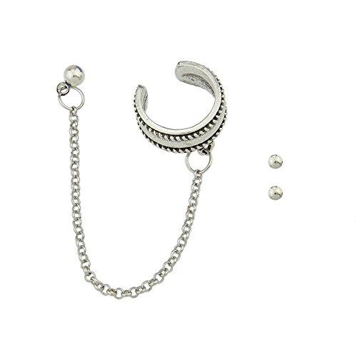 Feelontop® 3 Pcs/set Granos de plata antiguos del punk rock Forma geométrica Stud Pendientes Ear Cuff Clip con cadena con joyas